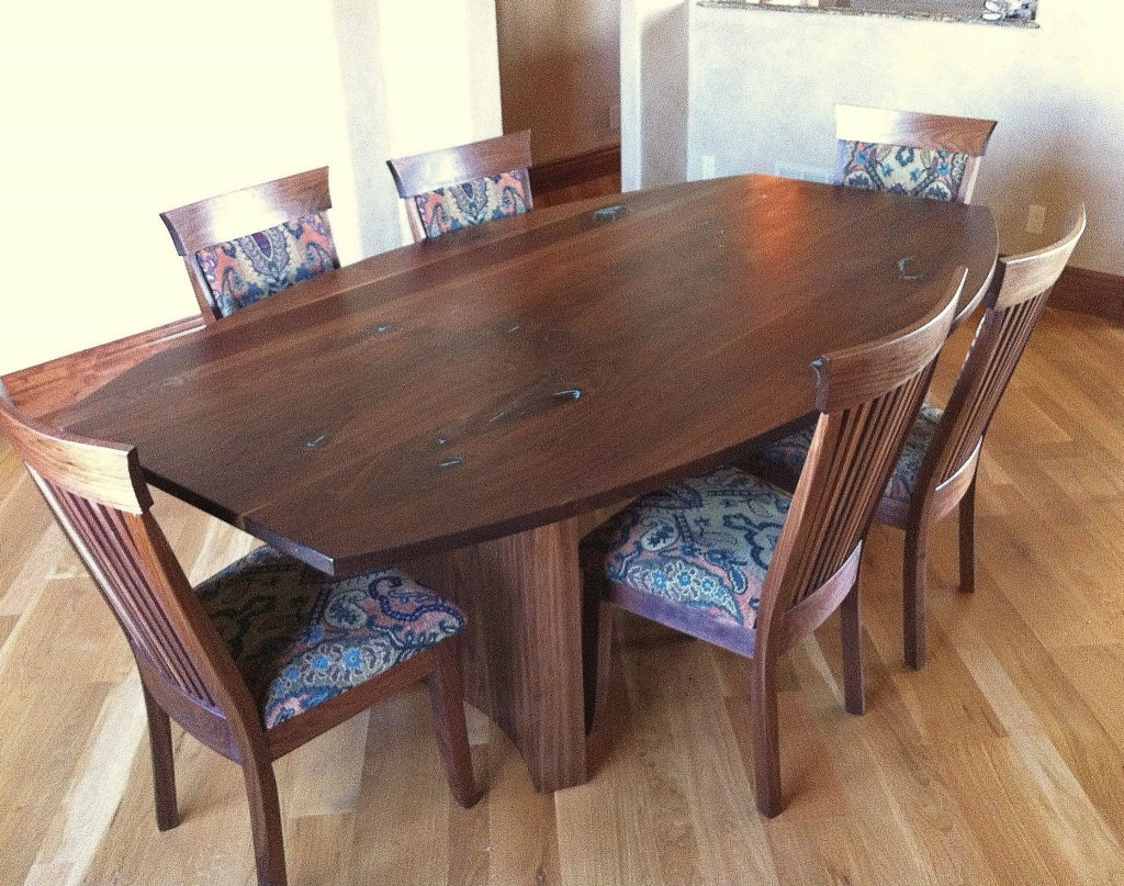 "Custom Solid Walnut Table with Turquoise Inlay & Chenille Upholstered ""Hawthorn"" Chairs"