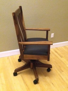 "Solid Walnut ""Craftsman"" Desk Chair with Black Leather"