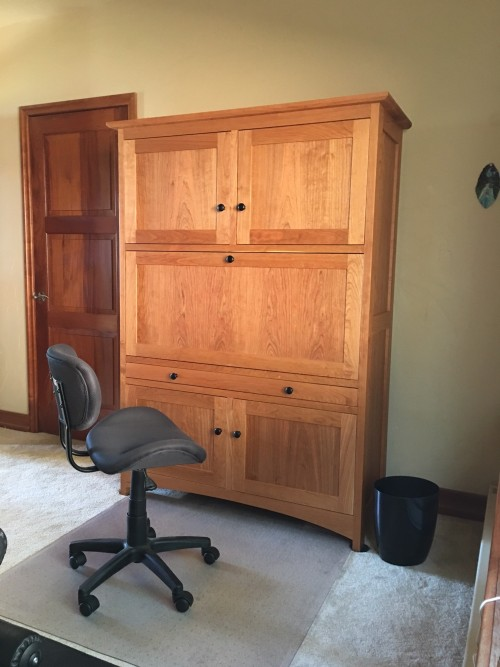 "Cherry ""Prairie"" Workstation with Flip-Down Desktop, Laminate Surface, Cabinetry, Pencil & File Drawers"