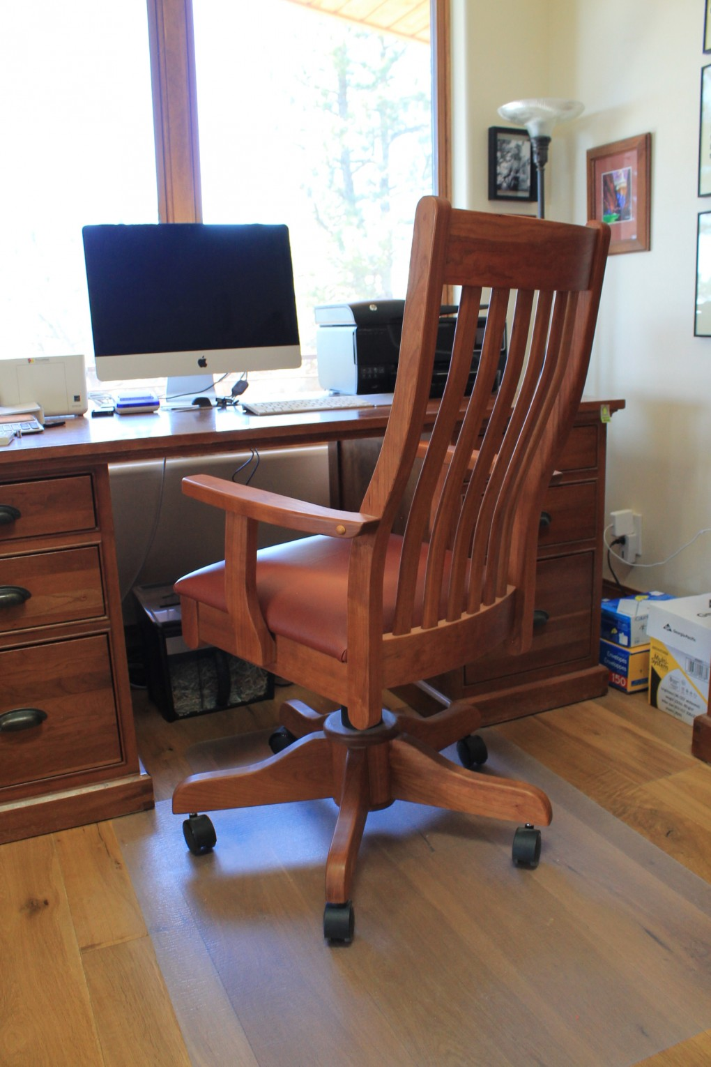 Solid Cherry Mission Desk Chair With Cinnamon Leather