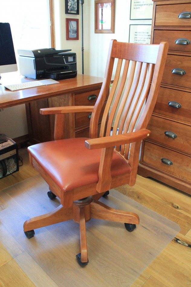 "Solid Cherry ""Mission"" Desk Chair with Cinnamon Leather"