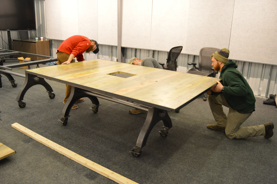"Solid Beetlekill ""Flatiron"" Custom Conference Table Set"