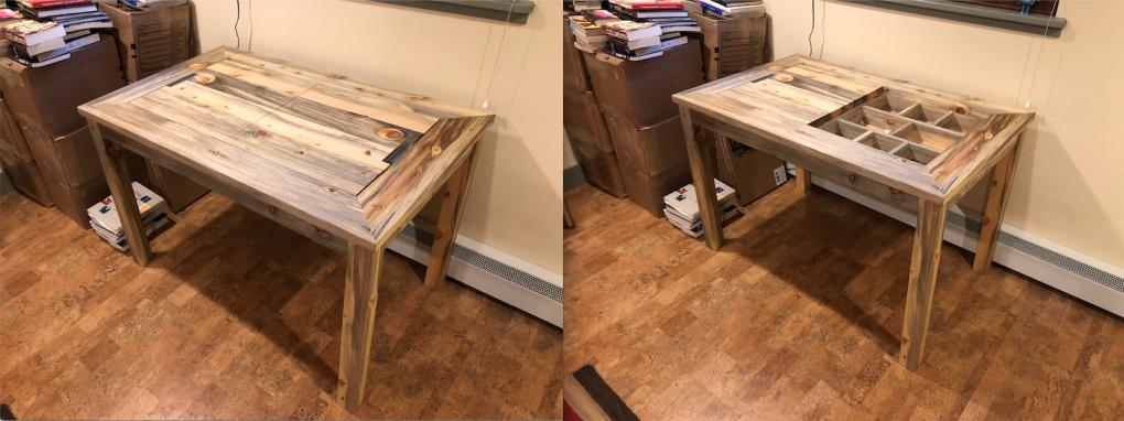 "Beetlekill ""Flatiron"" Desk with Custom Removable Desktop and Divided Storage"