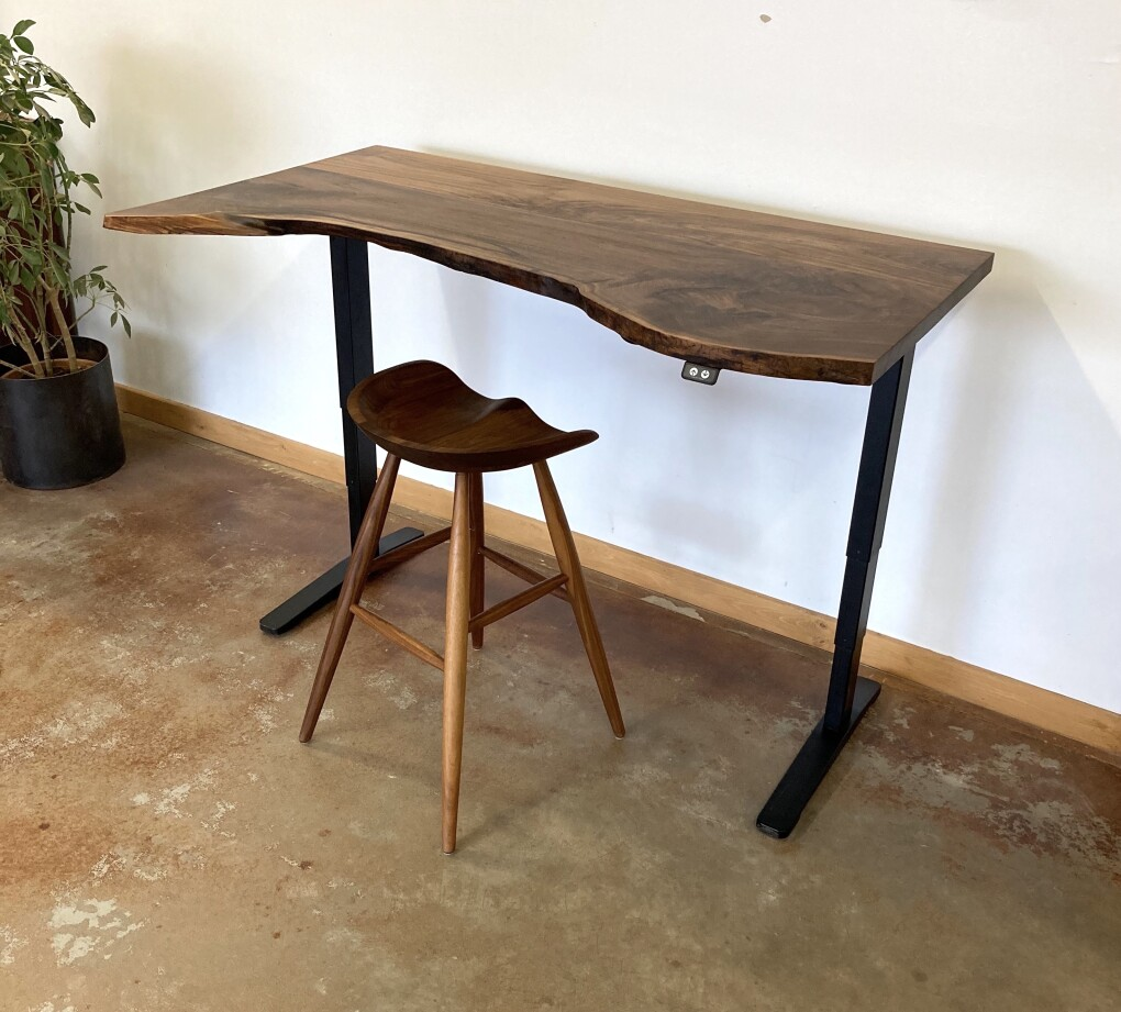 "Solid Walnut ""Flatiron"" LiveEdge Pneumatic Sit-Stand Adjustable Desk"