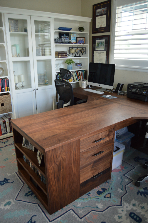 Walnut T-Shape Desk with Waterfalls, Corner Spans, Drawers & Bookcase