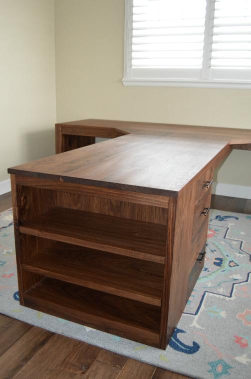 "Walnut ""Flatiron"" T-Shape Desk with Waterfall Legs, Bookcase & File Drawers"