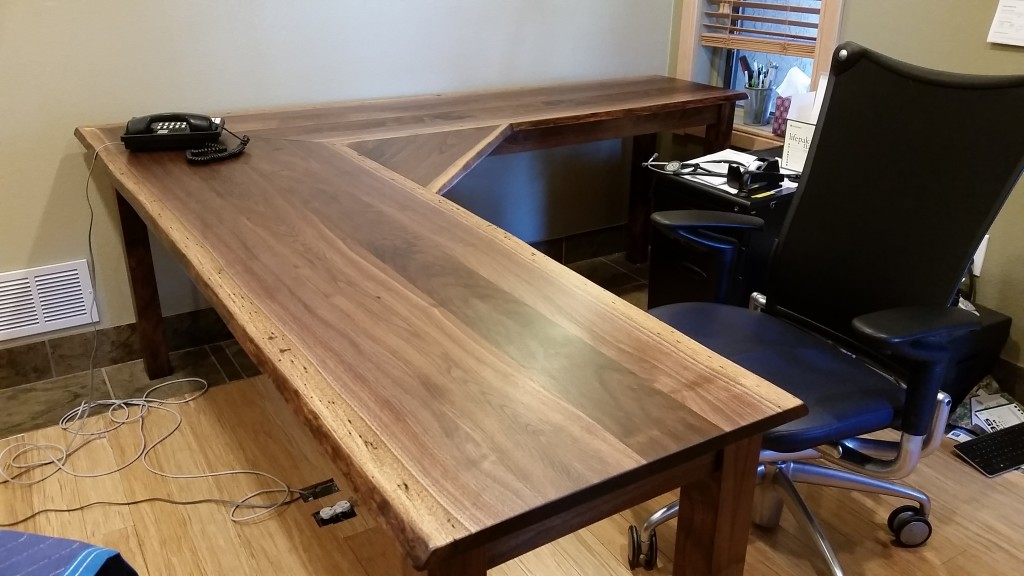 "Solid Walnut ""LiveEdge"" L-Shape Desk with Corner Span"