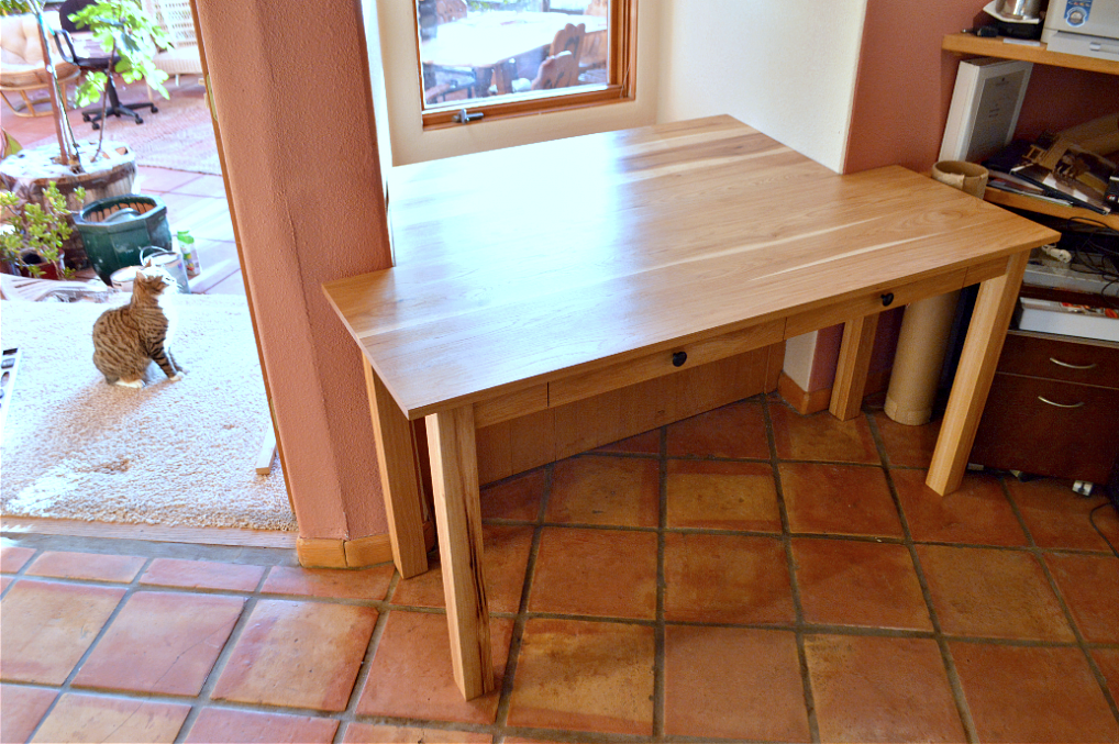 """Hickory """"Mission"""" Desk with Pencil Drawers and Custom Add-On Desktop"""