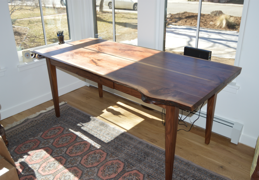 "Walnut ""Prairie"" LiveEdge Desk with Bookmatched Top"