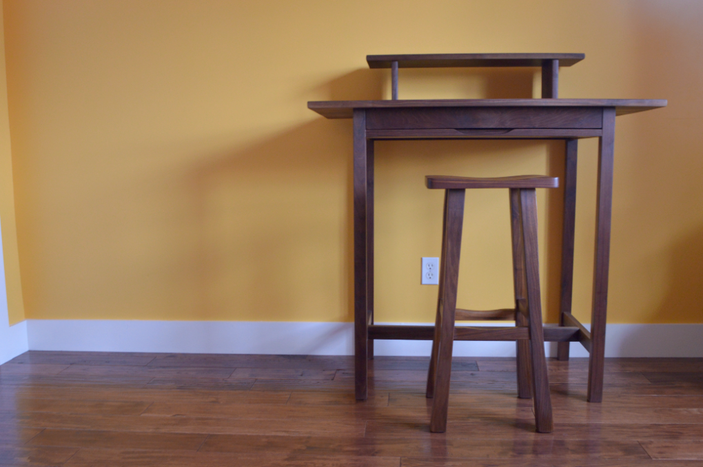 "Solid Walnut ""Flatiron"" Standing Desk with Pencil Drawer"