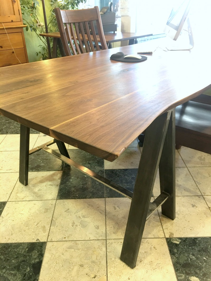 LiveEdge Walnut Desk with Sawhorse Legs