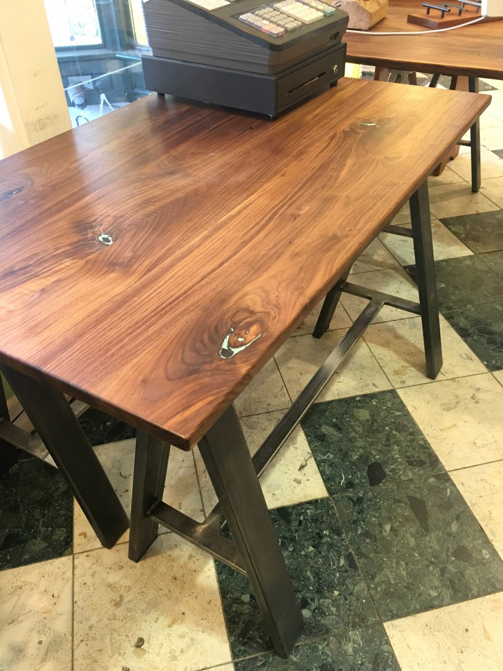 "Solid Walnut ""Flatiron"" Desk on Steel Sawhorses with Turquoise Inlay"