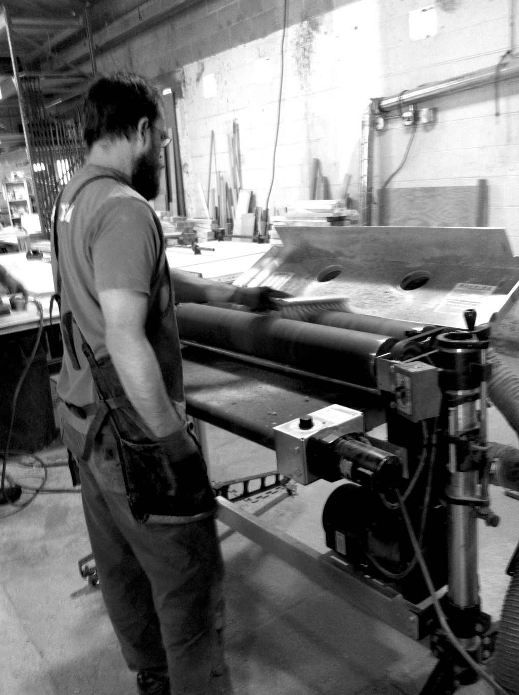 Jeff, cleaning the sander