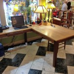 Solid Walnut and Maple Contemporary L-Shaped Desk
