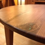 Solid Walnut Round Coffee Table with Turquoise Inlay