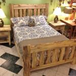 Solid Beetlekill Blue Pine Queen Bed and Nightstands