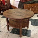 "Solid Walnut Round ""Mission"" Coffee Table with Turquoise Inlay"