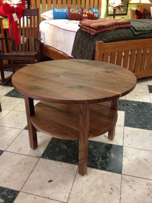 "Solid Walnut ""Mission"" Coffee Table with Turquoise Inlay"
