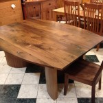 "Solid Walnut ""Bowed"" Dining Table with Turquoise Inlay"