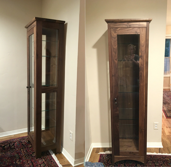 "Solid Walnut ""Prairie"" Display Cabinet"