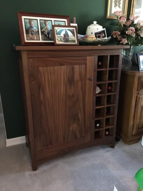 """Walnut """"Prairie"""" Wine Cabinet"""
