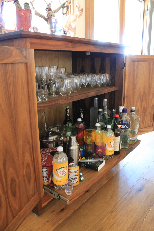 "Walnut ""Prairie"" Liquor Cabinet"