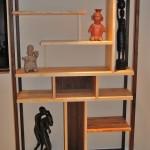 Custom Solid Walnut and Maple Wall Shelf Unit