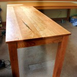 """Solid Cherry """"Flatiron"""" Desk with Turquoise Inlay"""