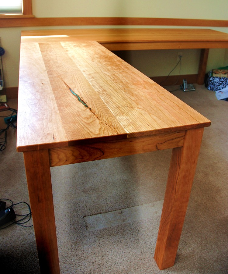 "Solid Cherry ""Flatiron"" L-Shape Desk"