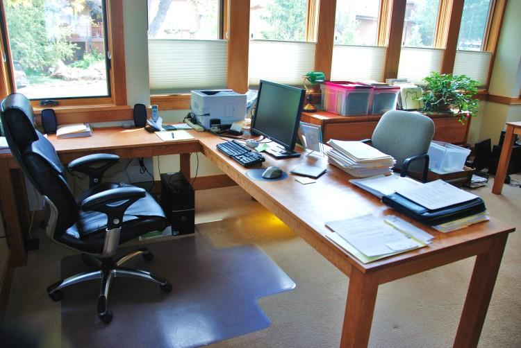 "Solid Cherry ""Flatiron"" L-Shape Desk"