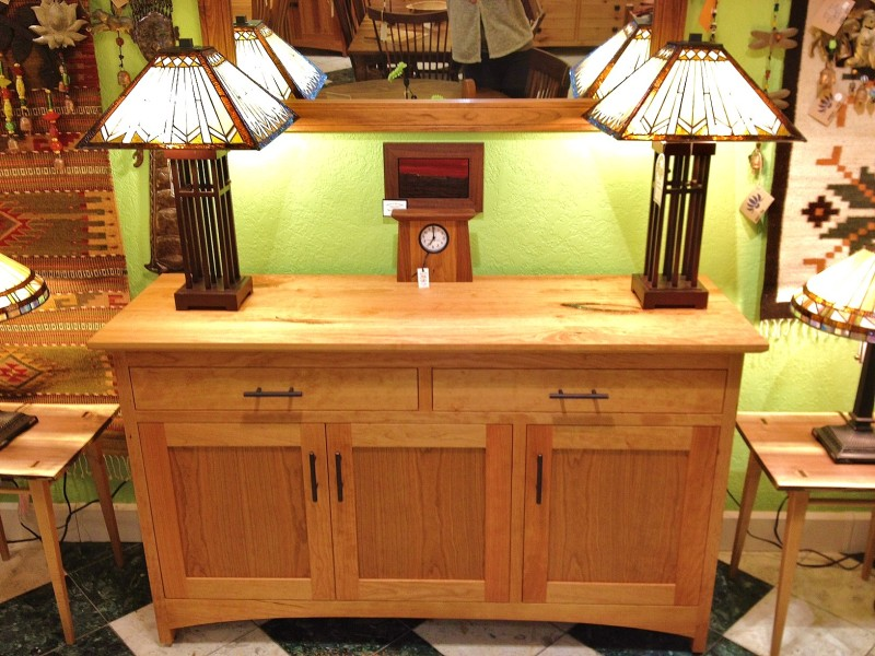 "Cherry ""Prairie"" 3-Door Sideboard with Open Panels & Turquoise Inlay"