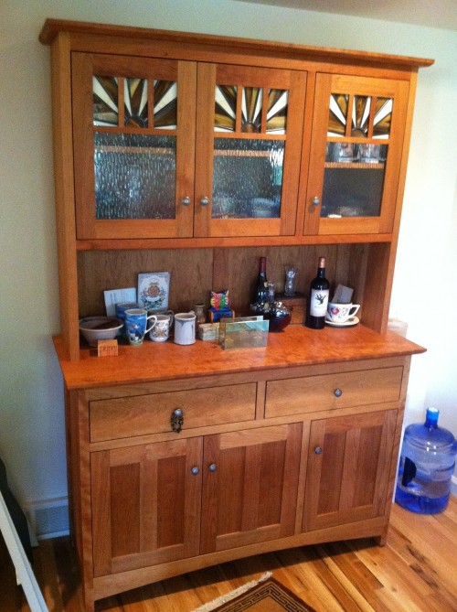 "Cherry ""Craftsman"" Hutch with Leaded Glass"