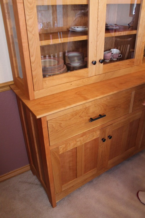 """Cherry """"Prairie"""" Hutch with Glass Doors & Sides"""