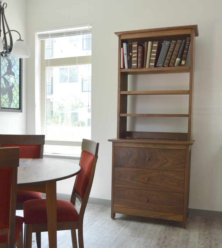 "Walnut ""Prairie"" Bookcase Hutch="