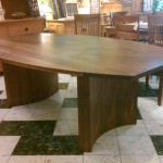 Custom Walnut Bowed Dining Table with Turquoise Inlay