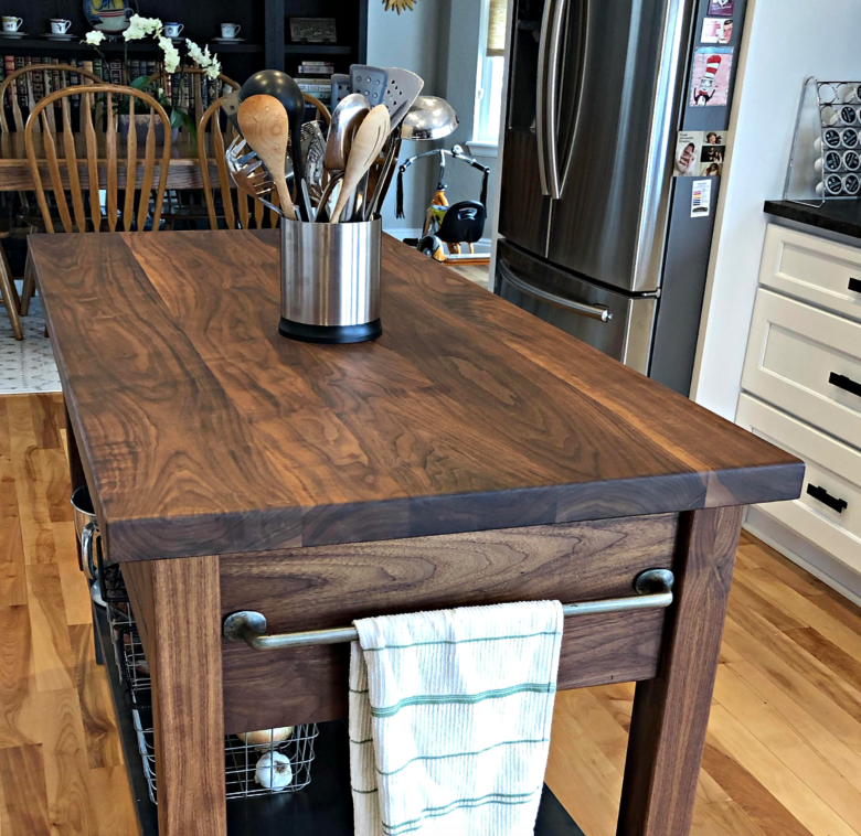 Walnut & Steel Kitchen Island