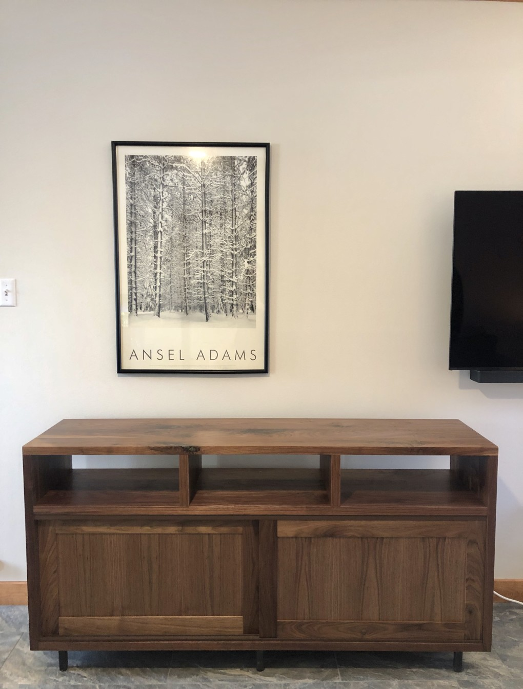 "Walnut ""Flatiron"" Media Console with Pyrite Inlay"