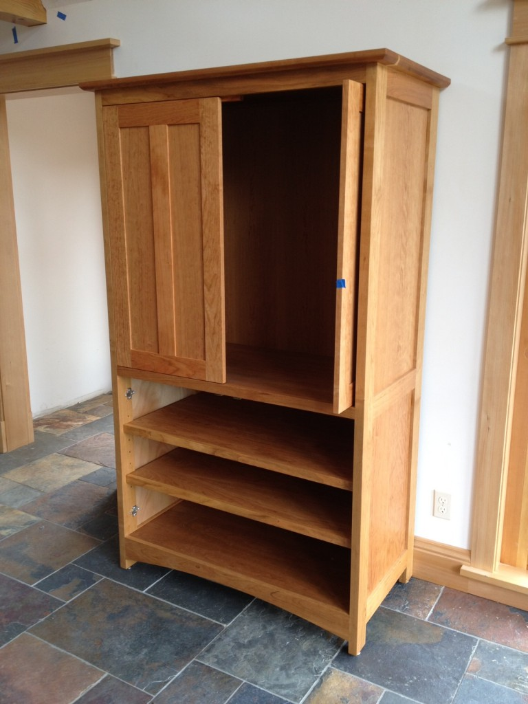 "Cherry ""Prairie"" Media Cabinet with Pocket Doors"