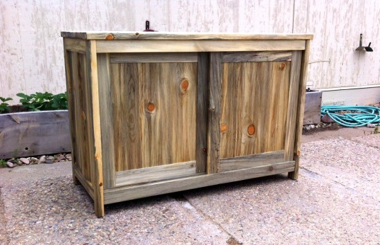 "Solid Beetlekill ""Flatiron"" Sideboard with Sliding Doors"
