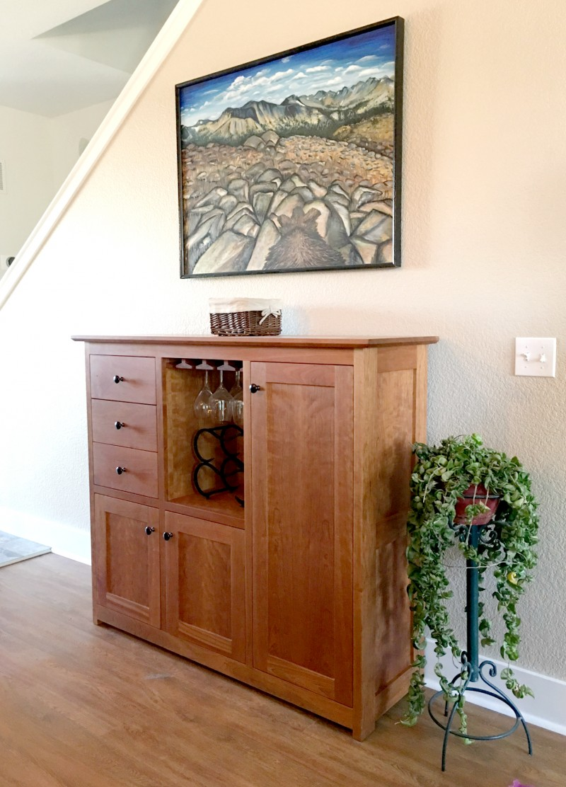 "Custom Cherry ""Shaker"" Sideboard Hutch with Winestem Rack"