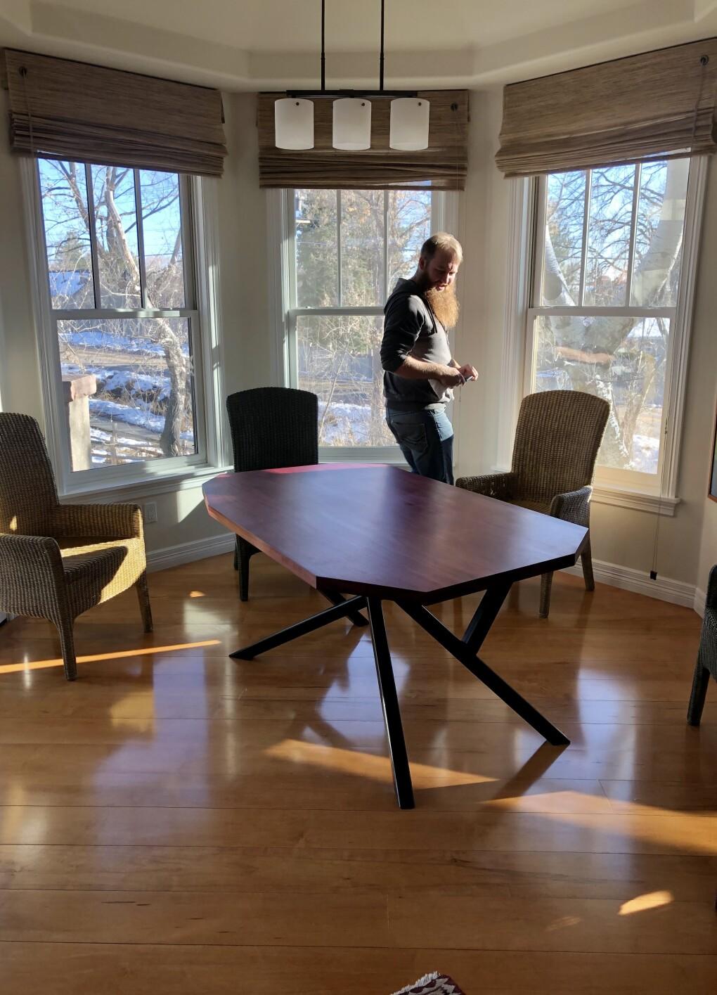 Custom Solid Purpleheart Gem-Shaped Table on Steel Base