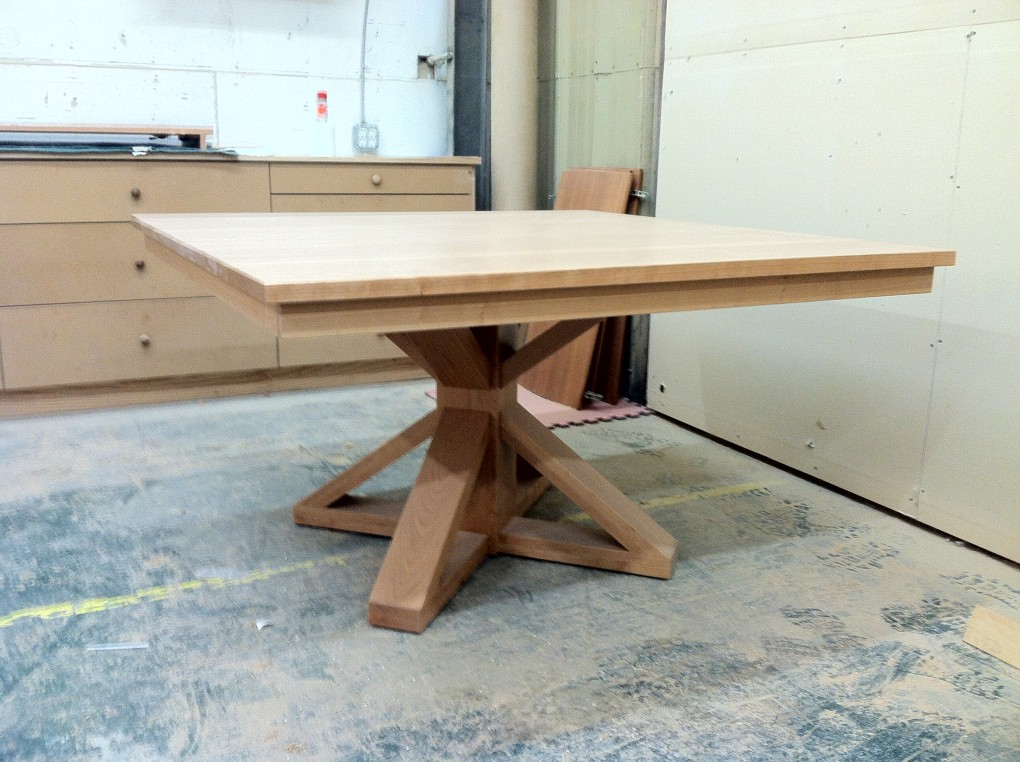 "Custom Cherry 60"" Square Pedestal Table"