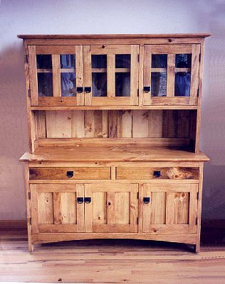 "Knotty Pine ""Prairie"" Three-Door Hutch"