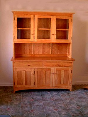 "Cherry ""Prairie"" Dining Cabinet with Winestem RackCherry ""Shaker"" Three-Door Hutch"