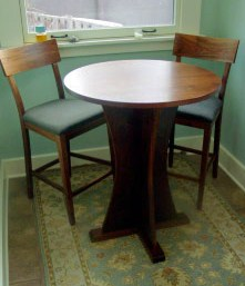 "Solid Walnut ""Craftsman"" Round Pedestal Bistro Table"