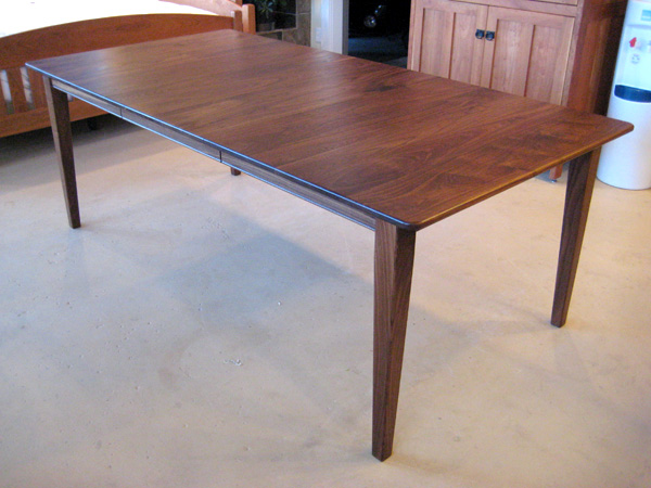 Solid Walnut U201cShakeru201d Table With Leaf And Rounded Corners
