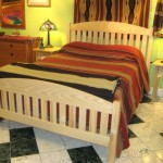Solid Ash Slat Arch Queen Bed