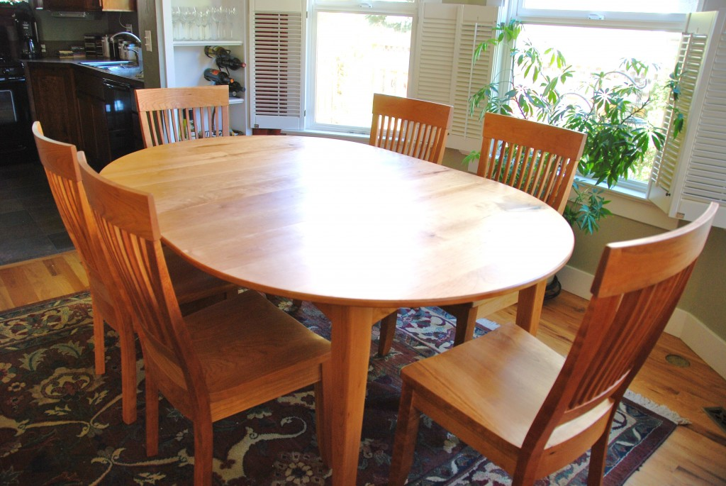 "Solid Cherry ""Prairie"" Round Table with Leaf"
