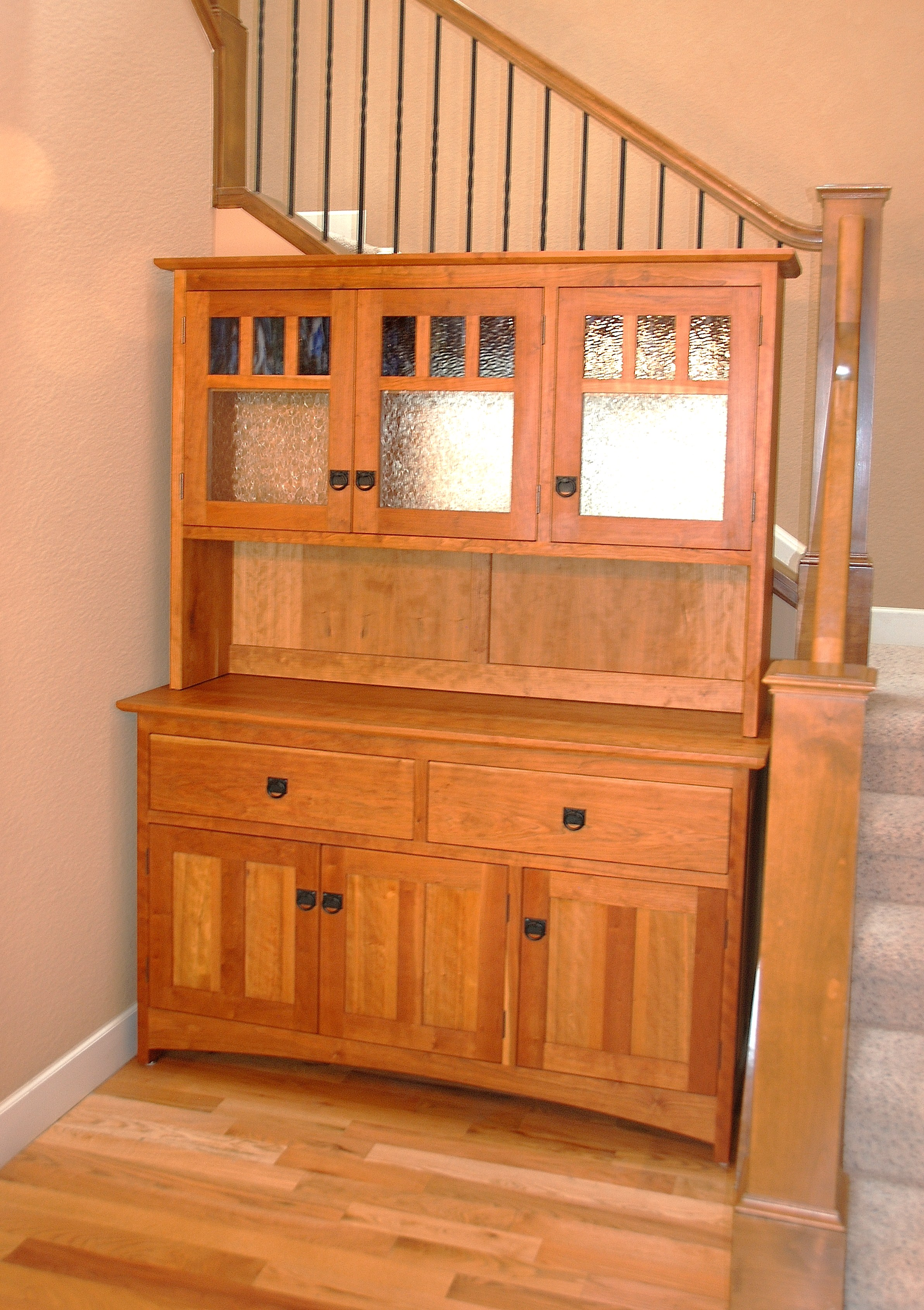 "Cherry ""Craftsman"" Three-Door Hutch"