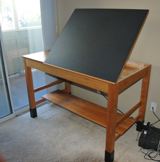 Cherry Drafting Table with Adjustable Composite Top & Steel Feet
